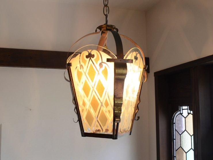 [new] アンティーク4面ガラス ランタン風 真鍮ペンダントランプ