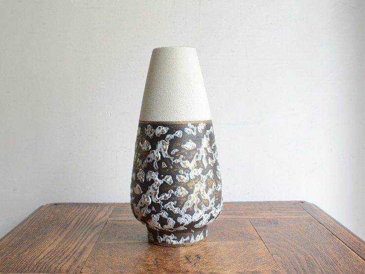 [new] ヴィンテージ 陶器フラワーベース(H21cm)