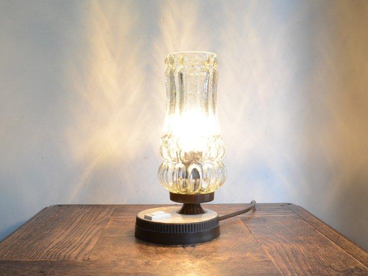 [new] ヴィンテージ デザインガラス テーブルランプ (H22cm)