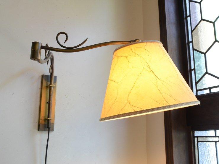 [new] ヴィンテージ シェード付 真鍮アームウォールランプ
