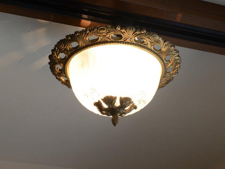 [new] ヴィンテージ 2灯真鍮ガラスランプ(天井照明)※直付専用