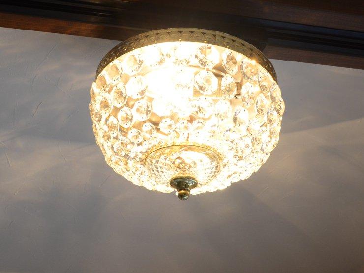 [new] ヴィンテージ クリスタルガラス シーリングランプ(天井照明)※直付専用