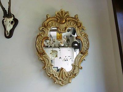 ヴィンテージ 木製 デコラティブ壁掛けミラー