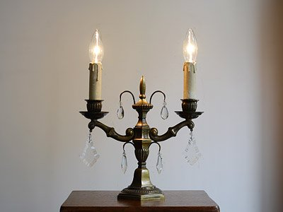 クリスタルガラス付 2灯真鍮スタンドランプ