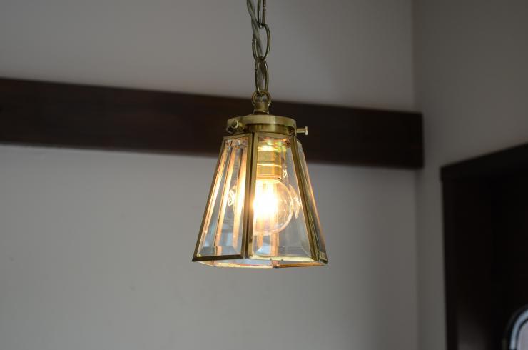6面クリアガラス 真鍮ペンダントランプ