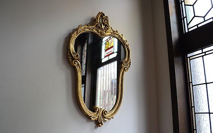 70's ゴールドフレーム ヴィンテージ壁掛けミラー