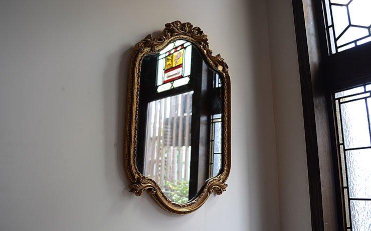 ゴールド木製フレーム 壁掛けミラー