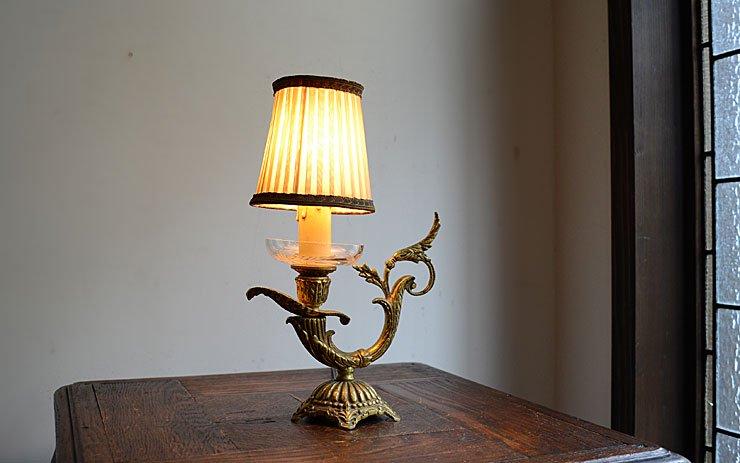 クリスタルプレート 取手付真鍮テーブルランプ