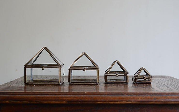 ヴィンテージ真鍮フレーム ガラスケースset