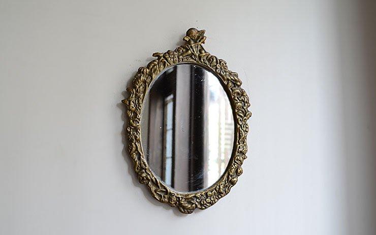 天使モチーフ 真鍮壁掛けミラー