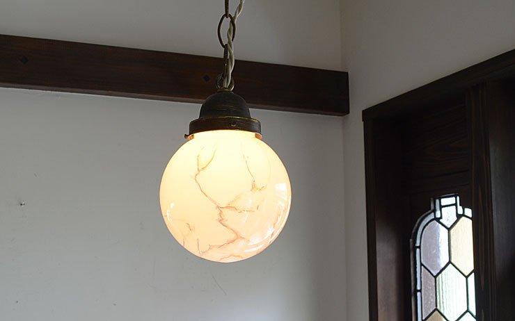 ヴィンテージ ミルクガラス マーブル模様ペンダントランプ