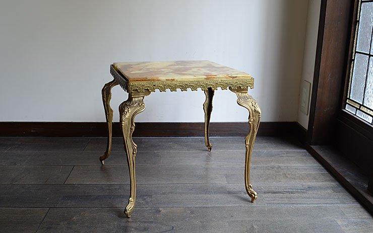 マーブル(大理石)×真鍮 猫足カフェテーブル
