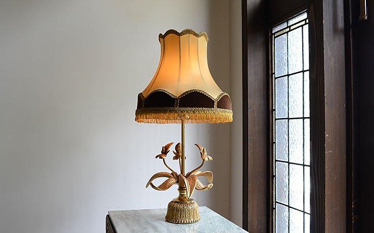 フリンジシェード付 真鍮テーブルランプ(H49cm)