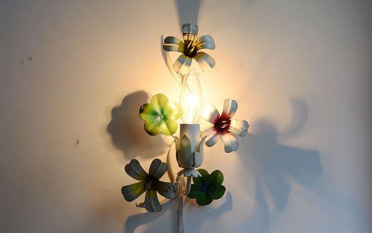 フラワーモチーフ アイアン 1灯ウォールランプ A