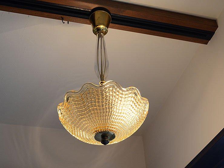 ヴィンテージ ガラス 3灯ペンダントランプ(天井照明)