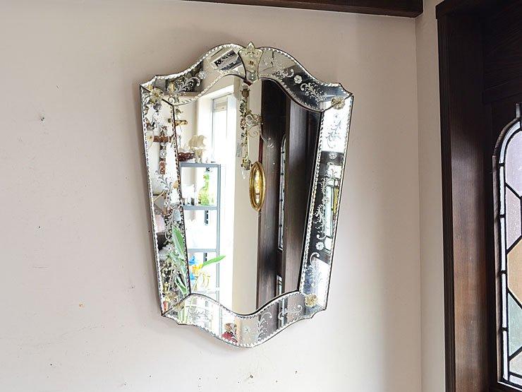 ベネチアンガラス ヴィンテージ壁掛けミラー(H67cm)