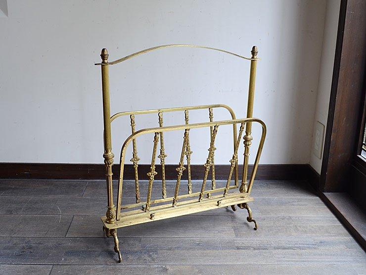 アンティーク 真鍮製マガジンラック