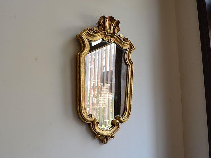 ゴールドフレーム ヴィンテージ壁掛けミラー