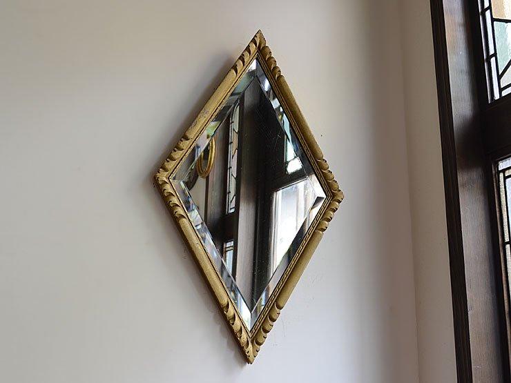 菱形ゴールド木製フレーム 壁掛けミラー