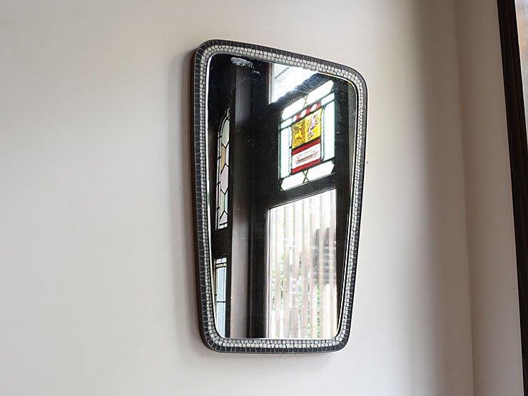 ヴィンテージ タイル×真鍮フレーム 壁掛けミラー