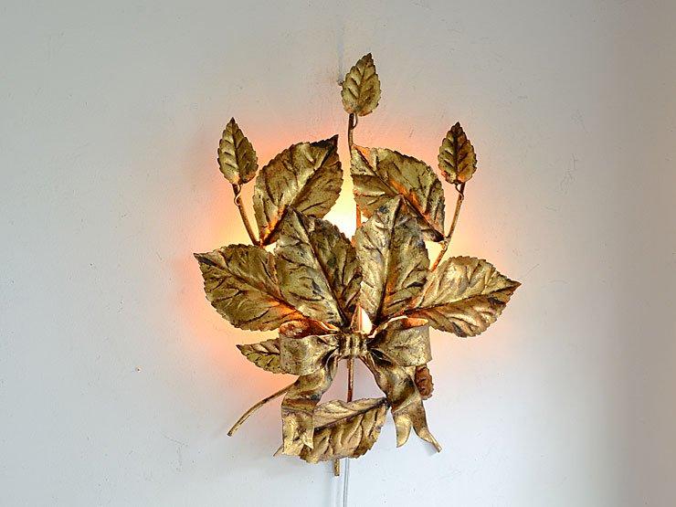 ITALY リボン&リーフ 1灯アイアンウォールランプ