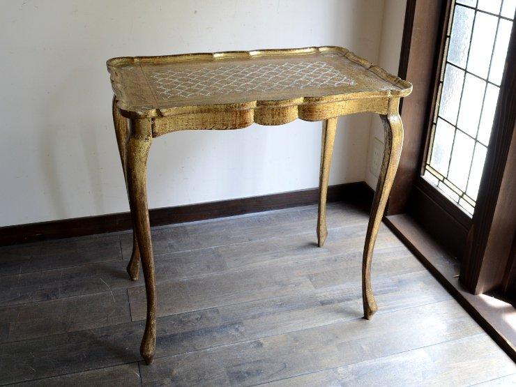 ITALY 型押し 木製サイドテーブル L