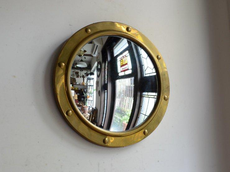 ヴィンテージ 真鍮 壁掛け魚眼ミラー