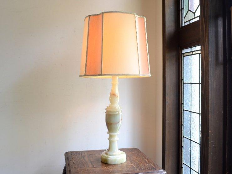 シェード付 マーブル(大理石)テーブルランプ(H68cm)