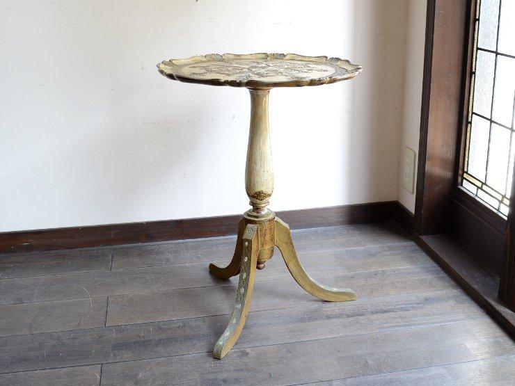ITALY 型押し 丸型サイドテーブル