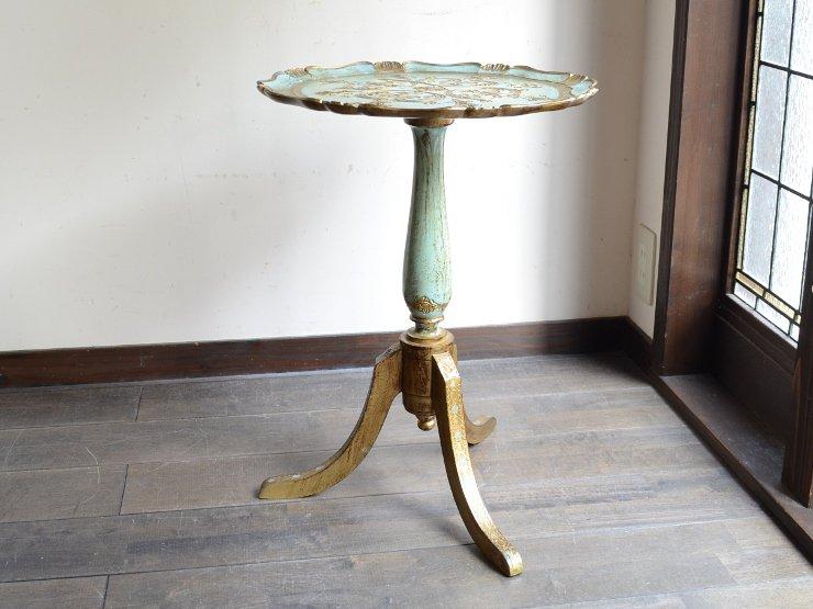 ITALY 型押し 丸型サイドテーブル(ブルー)