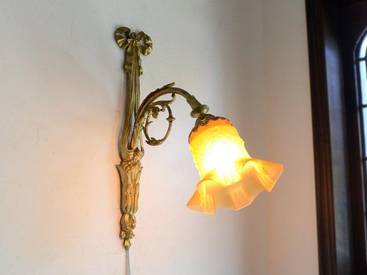 フリルガラスシェード 真鍮ウォールランプ(B22電球専用)