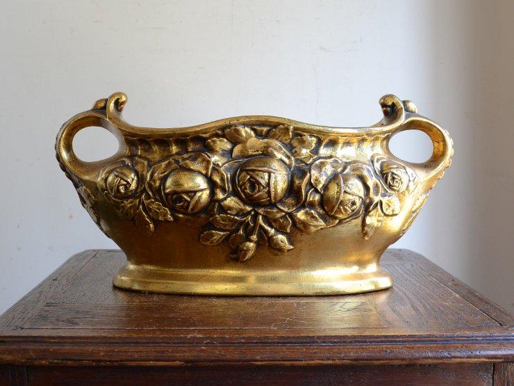 ヴィンテージ バラモチーフ 陶器フラワーポット