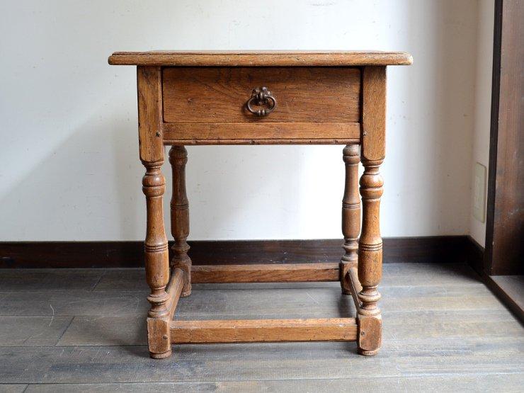 アンティーク 引出し付きサイドテーブル