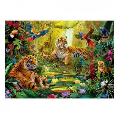 木製ジグソーパズル Tiger Family in the Jungle (40 Series)