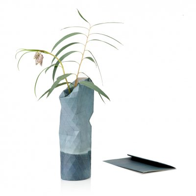 Paper Vase Cover Small Watercolor Blue