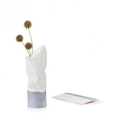 Paper Vase Cover Small Watercolor White