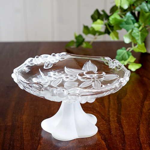 アンティーク ガラスコンポート 花のレリーフ (直径17cm)