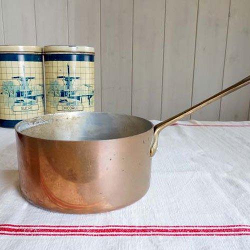 アンティーク・銅の片手ソースパン(直径14cm)
