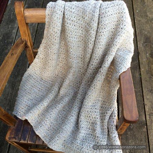 かぎ編み麻柄ブランケット