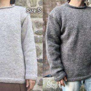 ウールの手編みセーター