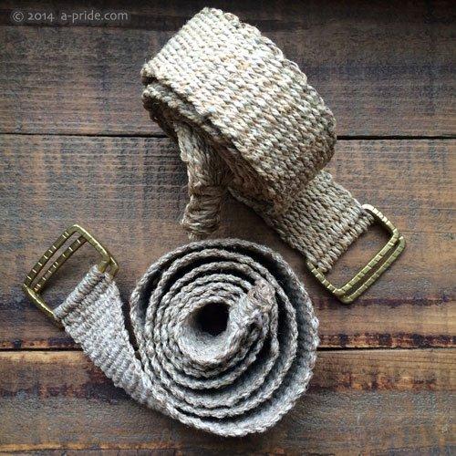 ナチュラル手織りベルト:ヘンプ/ネトル