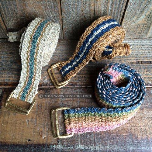 草木染めヘンプ手織りベルト