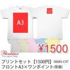 激安プリントセット【1500円(税抜)】フロントA3×ワンポイント Tシャツ指定  00085-CVT