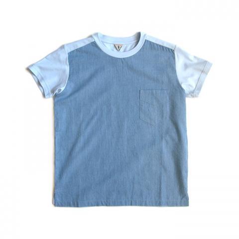 FilMelange(フィルメランジェ)「SUCH G」 コンビTシャツ(ブルー)