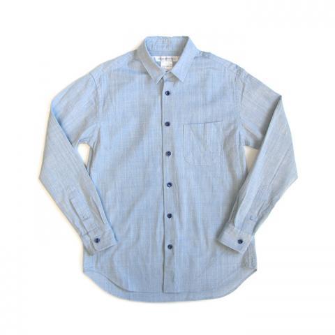 EEL(イール)陶器釦のシャツ(サックス)