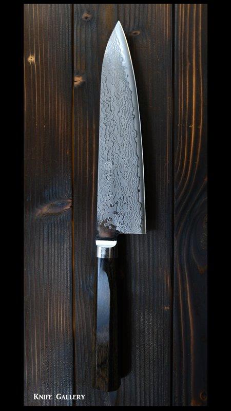 高村刃物 牛刀包丁(180mm)【花】R2粉末ハイス鋼 ダマスカス 高級ステンレス