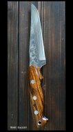 鍛造ナイフ 【雫4型】 黒崎 優 作 R2粉末ハイス鋼 ダマスカス アイアンウッド柄