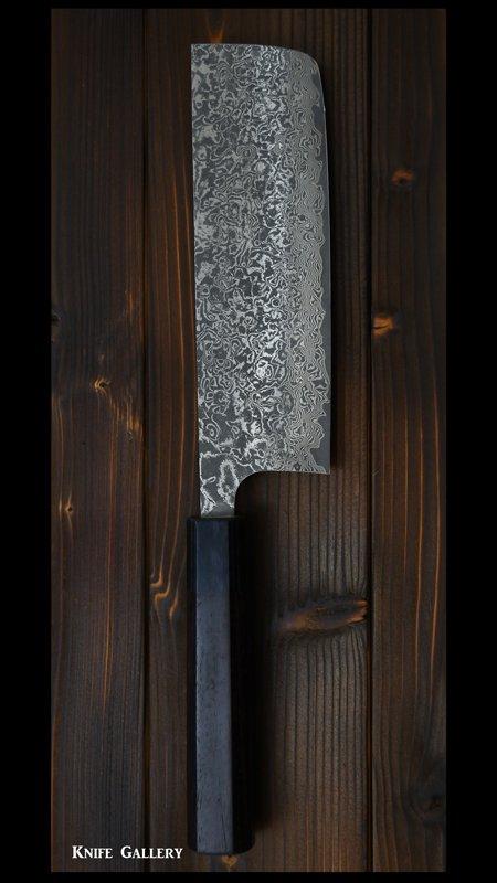 【佐治 武士】 菜切包丁 (165mm) R2粉末ハイス鋼 ニッケルダマスカス  紫檀八角柄