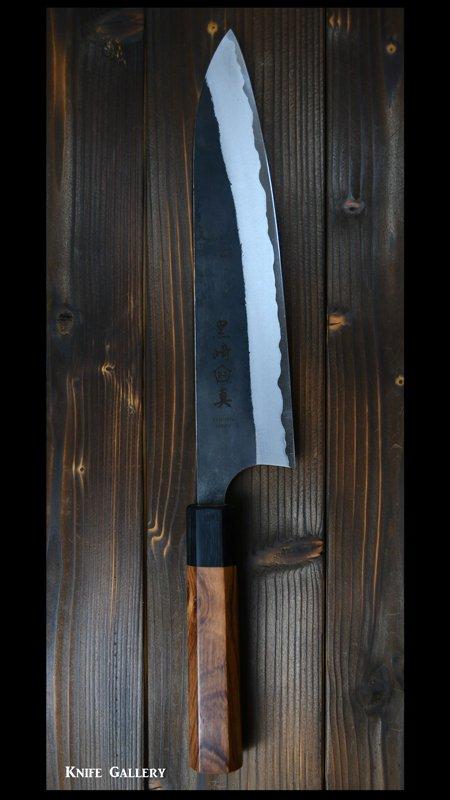 【黒崎 真】 牛刀 包丁 (210mm)白紙鋼 黒打ち ホンジュラスローズウッド