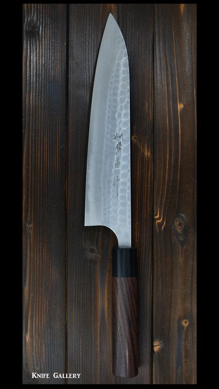 【安立勝重】牛刀包丁 (210mm)青紙二号鋼クラッド 紫檀柄 両刃